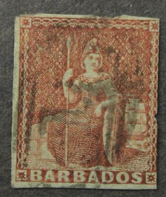 Barbados #4 Used, Unwatermarked, Blued Paper, Imperf, 1852-1855 Issue
