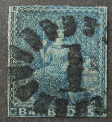 Barbados #2a Used, Unwatermarked, Blued Paper, Imperf, 1852-1855 Issue