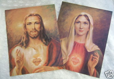 "Catholic Picture Print SET Sacred Heart Jesus & Mary 11x14"" ready to be framed"