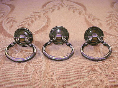 3 VICTORIAN STYLE Vintage Style Ring DRAWER Pulls ANTIQUED GOLDTONE METAL~22B7