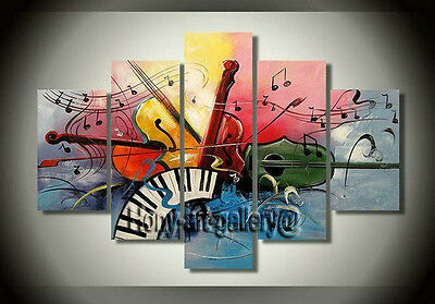 Large Canvas Modern Art Wall Music Abstract OIL Painting Home Decor Framed mus15