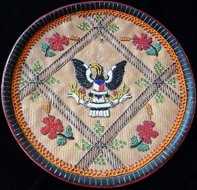 "1930s NATIVE AMERICAN INDIAN BEAD DECORATED 13""  Eagle Plate Picture"