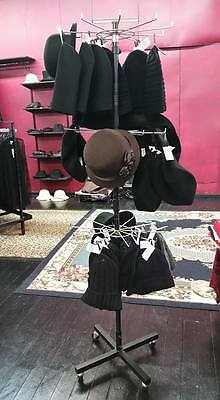 EX Shop USED black metal card/stocking/hat/incense etc RACK Stand on wheels