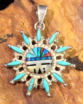 Zuni Native American Turquoise Needle Point Sterling Silver Vintage Pendant