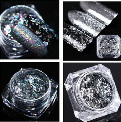 2 Boxes 0.2g Holographic Silver Flakes Nail Sequins Mirror Glitter BORN PRETTY