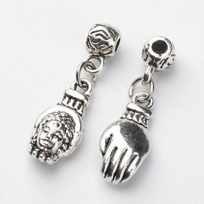 5pcs Antique Silver Buddha Head In Hand Alloy Charm European Beads Fit Bracelet