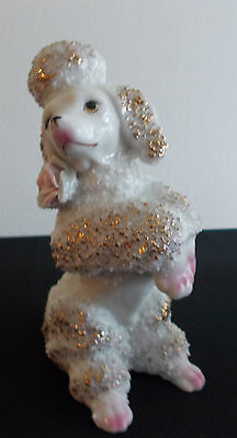 Vintage White, Pink and Gold Spaghetti Poodle Dog Figurine Japan?