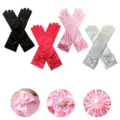 Fashion Satin Bowknot Long Gloves Princess Hands Cover for Toddler Kids Girls