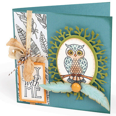 Sizzix Clear Stamps By Jen Long-Owl & Feathers