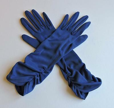 VINTAGE 50's/60's MORLEY BLUE 3/4 LENGTH RUCHED CUFF GLOVES SIZE 7.5