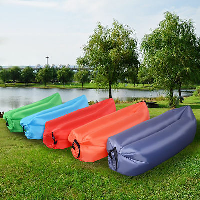 Inflatable Air Sofa Bed Lounger Chair Sleeping Bag Mattress Seat Couch Camping .