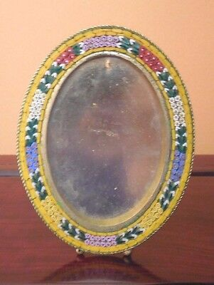 Vintage Oval Micro Mosaic Picture Frame Italy Easel Retailed by Lord & Taylor