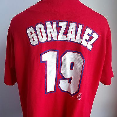 Texas Rangers 1999 Mlb Baseball Shirt #19 Gonzalez True Fan Size Adult Xl