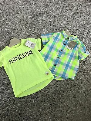 Next Baby Boys Checked Shirt & T SHIRT NEW 6-9 MONTHS