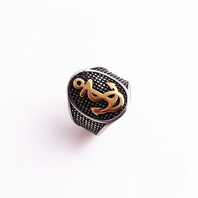 316L Stainless Steel Vintage Silver Gold Anchor Cool Biker Ring
