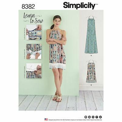 Simplicity Learn To Sew SEWING PATTERN 8382 Misses Halter Dress XXS-XXL