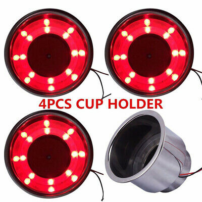 4Pcs Stainless Steel Cup Drink Holder Red LED Built-in For Marine Boat Truck RV