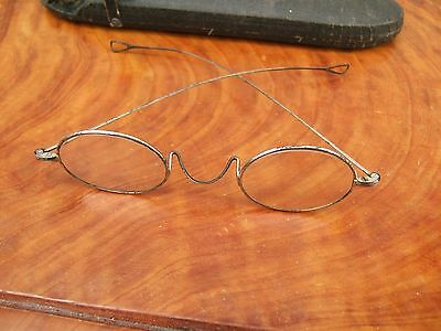Antique Victorian Wire Rimmed Reading Glasses  In Case.....