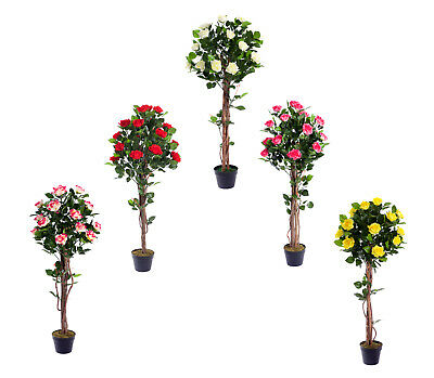 Best Artificial 4ft 120cm Rose Flower Tree garden conservatory office plant new