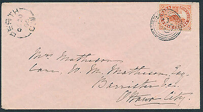1866 Perth CW (Lanark) to Ottawa, #15 5c Beaver, 4-Ring 29