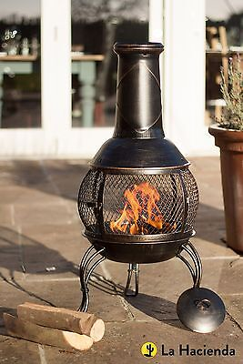 NEW La Hacienda Leon Steel Mesh Chimnea Wood Burner - Bronze Effect