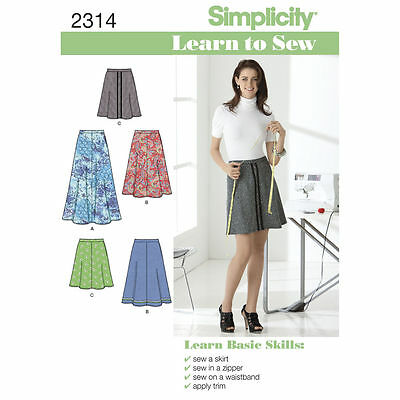 Simplicity Learn To Sew SEWING PATTERN 2314 Misses Skirt In 3 Lengths, 6-18