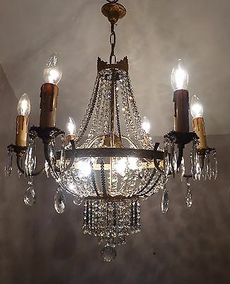 Beautiful Vintage French 9-Light Crystal Tent & Bag Chandelier, Stunning Light