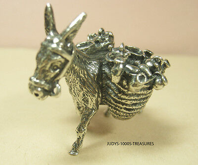 800 SILVER DONKEY BURRO MINIATURE 1.50 x 1.25 x 1.25 INCHES 25.80gr. MADE ITALY