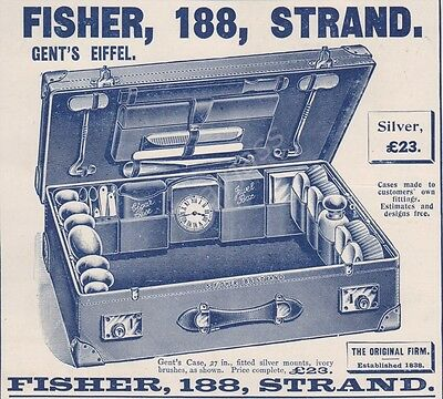 """1903 Print Ad S. Fisher Gent's """"Eiffel"""" Leather Fitted Suitcase - 03"""