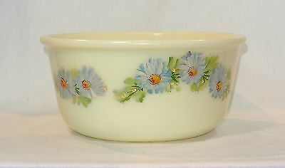 Vintage CUSTARD GLASS Mixer MIXING BOWL with Hand Painted Flowers Marked UEM-25