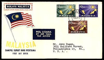 Malaysia Singapore Flag Cachet 1953 FDC With Inserts