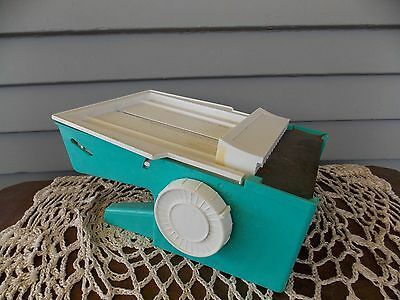 Vintage Popeil Dial-O-Matic Food Cutter Slicer Aqua Blue & White