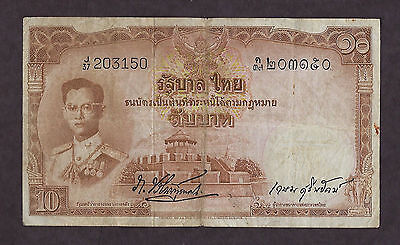 Thailand 1953 10 baht p#76 rare sign used paper money - 3150
