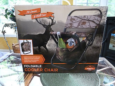 New! Fold Up Chair With Insulated Cooler - Outdoors By Totes - Up To 250Lbs-Camo