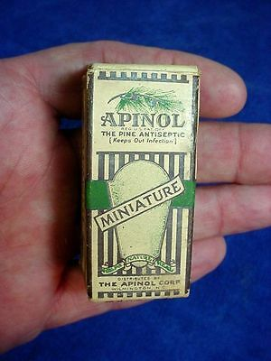 Vintage Corked Bottle of APINOL in Original Retail Box from 1930s General Store