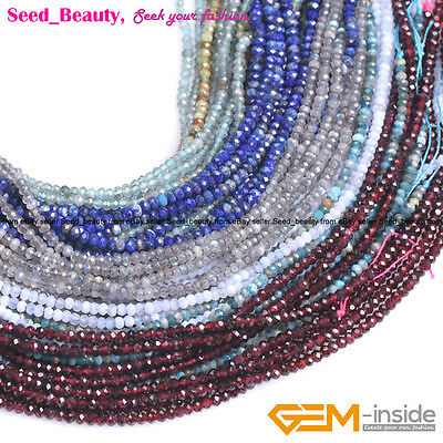 AAA Natural Stone Rondelle Faceted Spacer Beads For Jewelry Making Strand 15''
