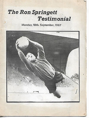 Ron Springett Testimonial prog & signed photograph 1967 vgc Sheffield Wednesday