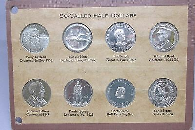 Set Of 8 So-Called Half Dollars In Wayte Raymond Window Holder Confederate