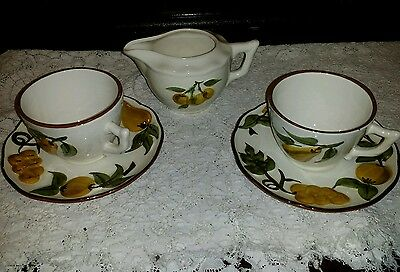 Vintage Stangle sculptured fruit hand painted cups saucers creamer