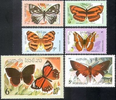 Laos 1982 Butterflies/Insects/Nature/Butterfly/Conservation 6v set (b6411)