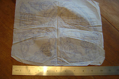 Embroidery Transfer Creased Vintage Art Deco 1932 Stylized Flower Corners etc