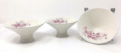 IMPROMPTU by IROQUOIS  COLONIAL PINK Lot (3) Fruit Dessert Sauce Footed Bowls