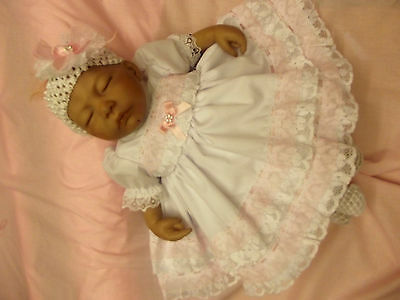 Dream Baby Pink & White Fully Lined Dress & Hbd Nb 0-3 3-6 Months Or Reborn