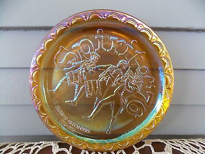 "Vintage Indiana Carnival Amber Glass ""Spirit of '76"" American Bicentennial Plate"