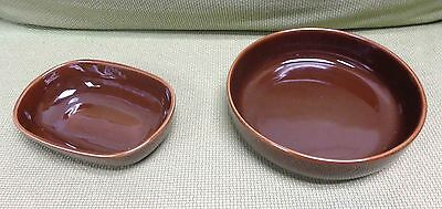 Bauer Monterey Moderne Indio Brown Dinnerware LOT Of Two Large Serving Bowls!