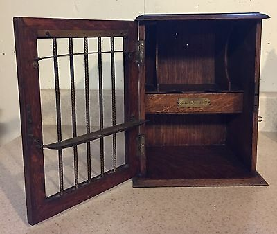 Antique Rare 1870's Wood Pipe and Cigarette Cabinet Store Display Brass Details