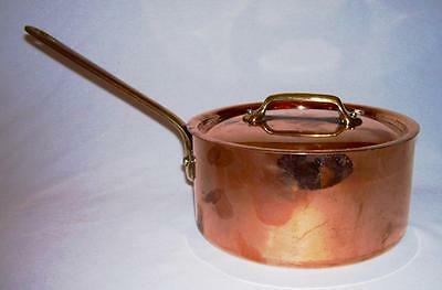 WILLIAMS SONOMA~ Copper 2.5 Qt. SAUCE PAN w/LID & Stainless Steel Lining~ France