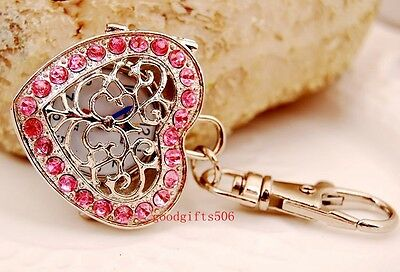 New Heart Mesh Crystal girls Kids women lady Rhinestone Key Ring watch gift DK19