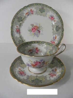 SHELLEY GEORGIAN CUP, SAUCER AND PLATE #13360 GOLD TRIM - Green Trio