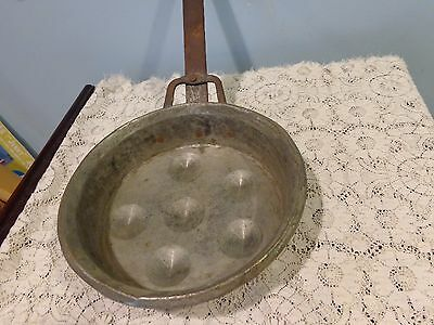 Antique vintage hammered? bottom long handle pot forged? wrought iron handle